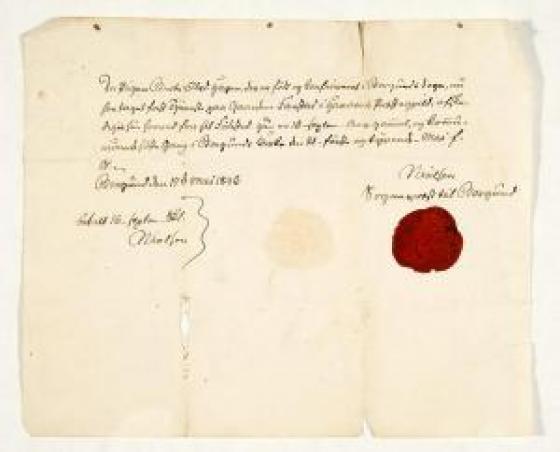Flytteattest for Pigen Berte Olsd. Hagen. Skriven av soknepresten Niels Nielsen 17.mai 1846.