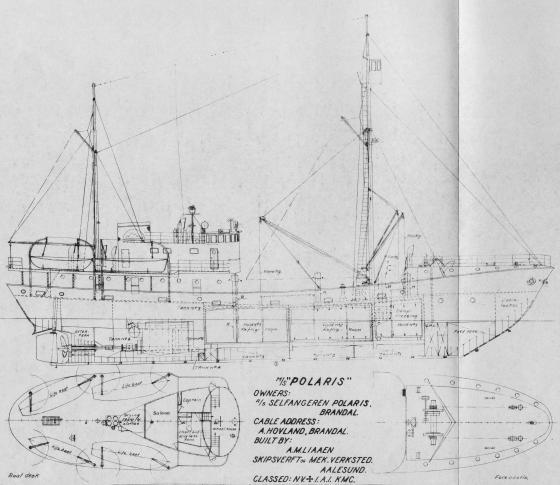 Skipsteikning av M/S Polaris. Bygg nr 86 ved A.M.Liaaen Skipsverft og Mekaniske Verksted. Levert i februar 1951. Kjelde: http://www.polarhav.com.