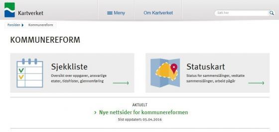 Nettsidene for kommunereformen tilbyr ei sjekkliste for kommunane som skal gjennom samanslåingsprosessen