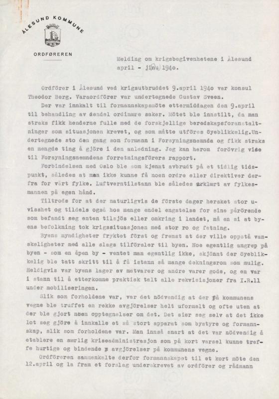 Dokumentet er henta frå arkivet etter Ålesund kommune, Formannskapet.